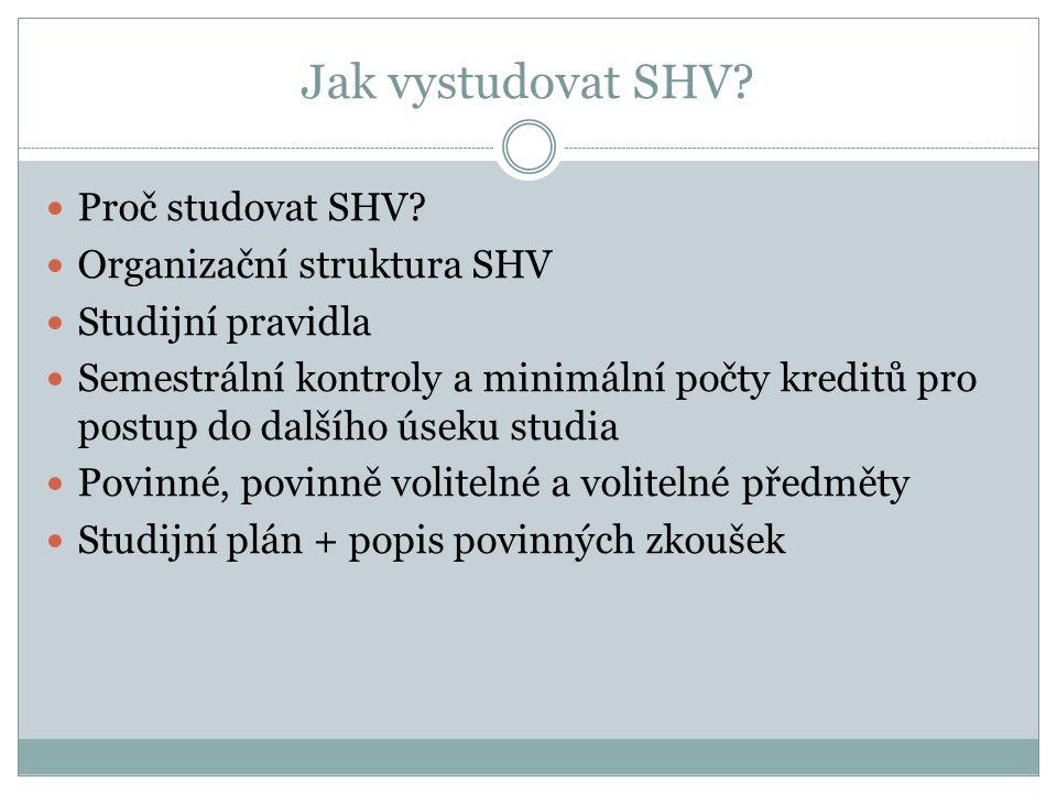 Jak vystudovat SHV? Proč studovat SHV? Organizační struktura SHV Studijní pravidla Semestrální kontroly a minimální počty kreditů pro postup do dalšíh