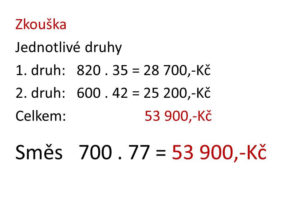 Zkouška Jednotlivé druhy 1. druh: 820. 35 = 28 700,-Kč 2. druh: 600. 42 = 25 200,-Kč Celkem: 53 900,-Kč Směs 700. 77 = 53 900,-Kč