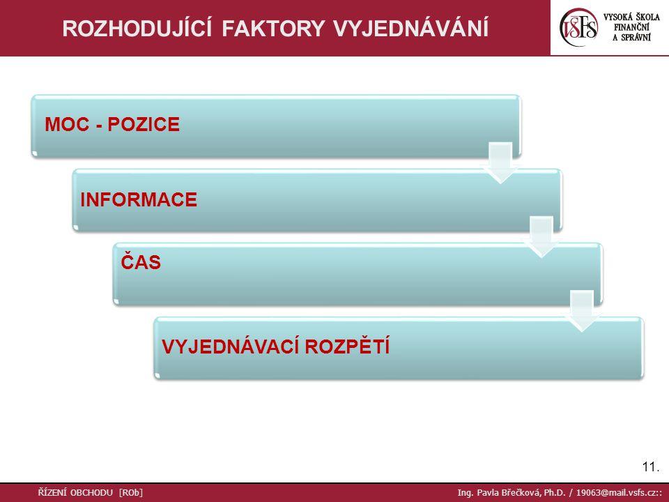 11. ŘÍZENÍ OBCHODU [ROb] Ing. Pavla Břečková, Ph.D. / 19063@mail.vsfs.cz:: ROZHODUJÍCÍ FAKTORY VYJEDNÁVÁNÍ MOC - POZICE INFORMACE ČAS VYJEDNÁVACÍ ROZP