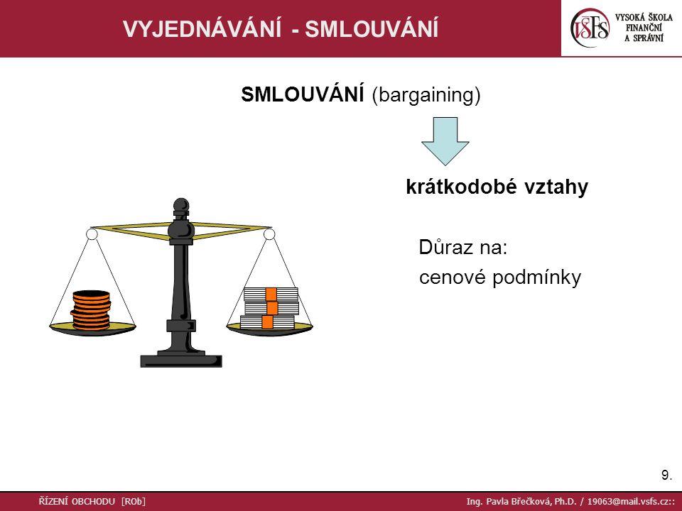 9.9. ŘÍZENÍ OBCHODU [ROb] Ing. Pavla Břečková, Ph.D. / 19063@mail.vsfs.cz:: VYJEDNÁVÁNÍ - SMLOUVÁNÍ SMLOUVÁNÍ (bargaining) krátkodobé vztahy Důraz na: