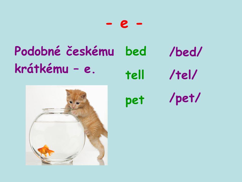 - e - bedPodobné českému krátkému – e. tell pet /bed/ /tel/ /pet/