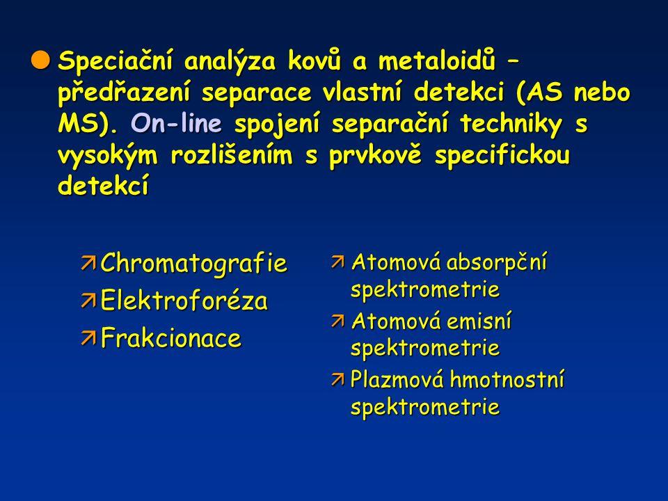  Speciační analýza kovů a metaloidů – předřazení separace vlastní detekci (AS nebo MS). On-line spojení separační techniky s vysokým rozlišením s prv