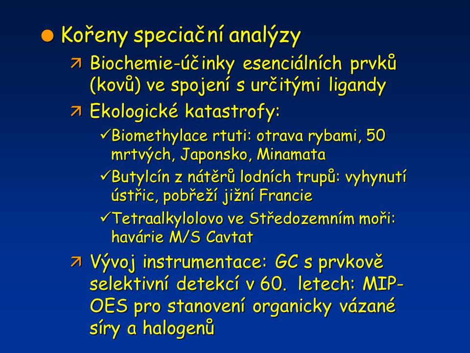  Kořeny speciační analýzy ä Biochemie-účinky esenciálních prvků (kovů) ve spojení s určitými ligandy ä Ekologické katastrofy: Biomethylace rtuti: otr