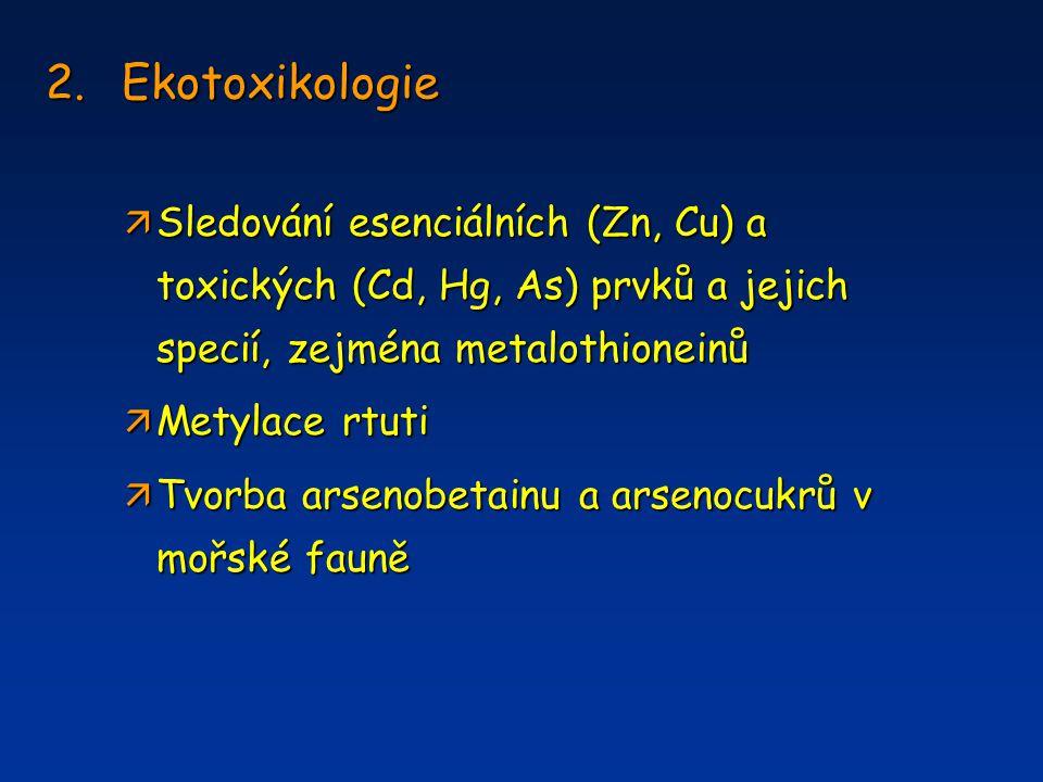 2.Ekotoxikologie ä Sledování esenciálních (Zn, Cu) a toxických (Cd, Hg, As) prvků a jejich specií, zejména metalothioneinů ä Metylace rtuti ä Tvorba a