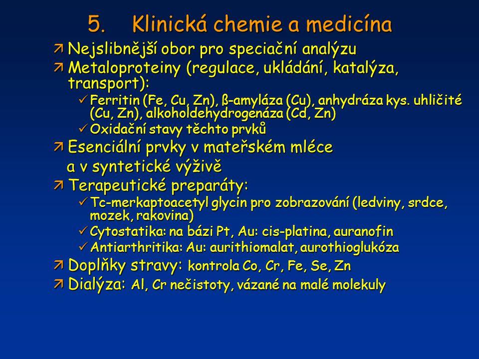 5.Klinická chemie a medicína ä Nejslibnější obor pro speciační analýzu ä Metaloproteiny (regulace, ukládání, katalýza, transport): Ferritin (Fe, Cu, Z
