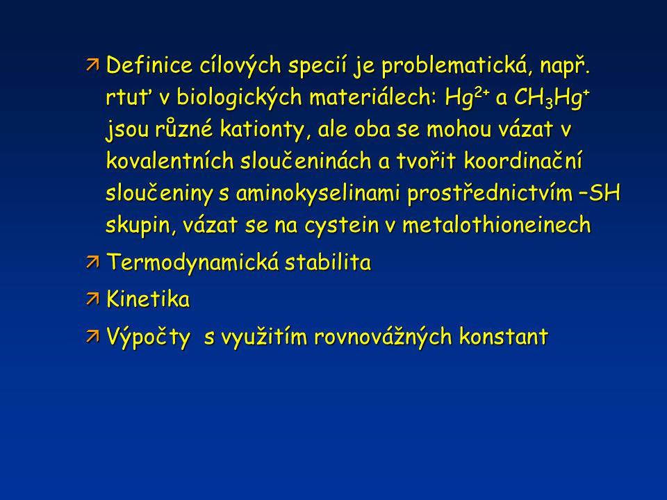 ä Definice cílových specií je problematická, např. rtuť v biologických materiálech: Hg 2+ a CH 3 Hg + jsou různé kationty, ale oba se mohou vázat v ko