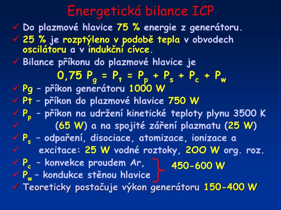 Energetická bilance ICP Do plazmové hlavice 75 % energie z generátoru. 25 % je rozptýleno v podobě tepla v obvodech oscilátoru a v indukční cívce. Bil
