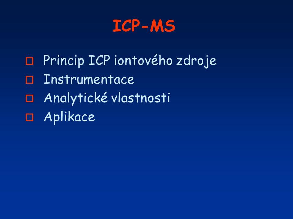Prvkově selektivní detektory ICP-OES/MS ä Jistota, že je stanovována určitá specie a ne jiná (selektivita) ä Dostatečně nízká mez detekce ä Speciačně selektivní techniky (Moessbauer spekt., XPS, ESR, MS a MS/MS selhávají při stanovení ultrastop v reálné matrici