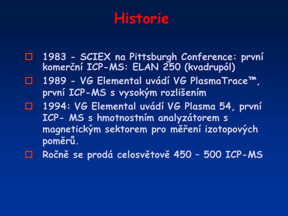 Historie o1983 - SCIEX na Pittsburgh Conference: první komerční ICP-MS: ELAN 250 (kvadrupól) o1989 - VG Elemental uvádí VG PlasmaTrace™, první ICP-MS