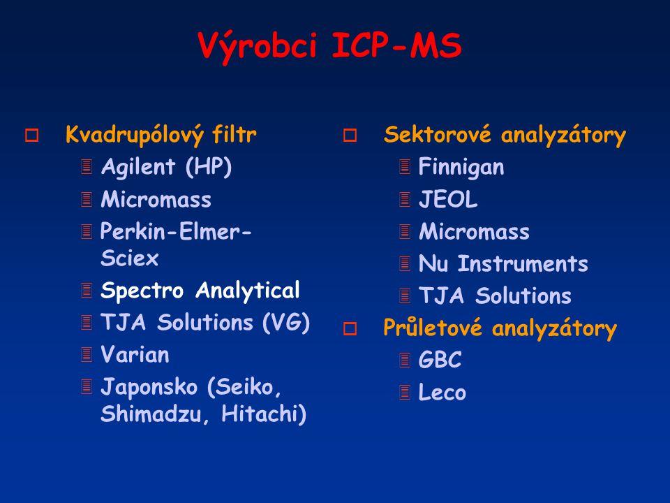 Výrobci ICP-MS o Kvadrupólový filtr 3 Agilent (HP) 3 Micromass 3 Perkin-Elmer- Sciex 3 Spectro Analytical 3 TJA Solutions (VG) 3 Varian 3 Japonsko (Se