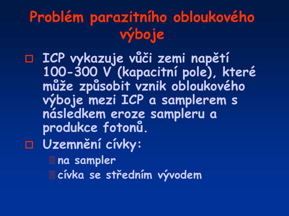 Problém parazitního obloukového výboje o ICP vykazuje vůči zemi napětí 100-300 V (kapacitní pole), které může způsobit vznik obloukového výboje mezi I