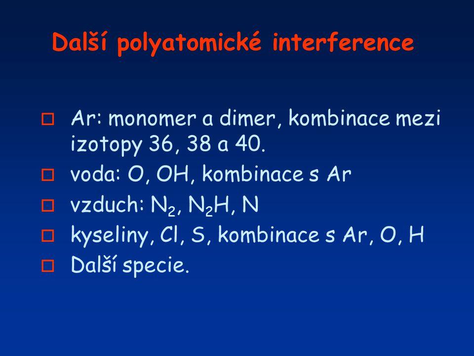 Další polyatomické interference o Ar: monomer a dimer, kombinace mezi izotopy 36, 38 a 40. o voda: O, OH, kombinace s Ar o vzduch: N 2, N 2 H, N o kys