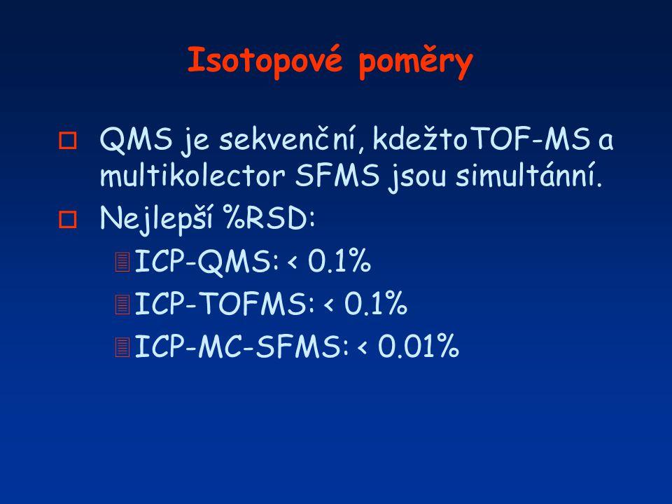 Isotopové poměry o QMS je sekvenční, kdežtoTOF-MS a multikolector SFMS jsou simultánní. o Nejlepší %RSD: 3 ICP-QMS: < 0.1% 3 ICP-TOFMS: < 0.1% 3 ICP-M