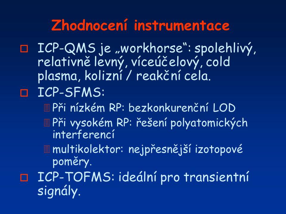 """Zhodnocení instrumentace o ICP-QMS je """"workhorse"""": spolehlivý, relativně levný, víceúčelový, cold plasma, kolizní / reakční cela. o ICP-SFMS: 3 Při ní"""