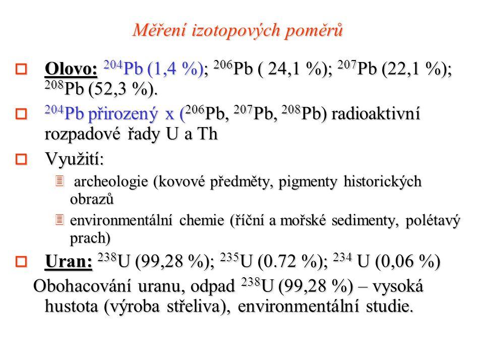 Měření izotopových poměrů o Olovo: 204 Pb (1,4 %); 206 Pb ( 24,1 %); 207 Pb (22,1 %); 208 Pb (52,3 %).