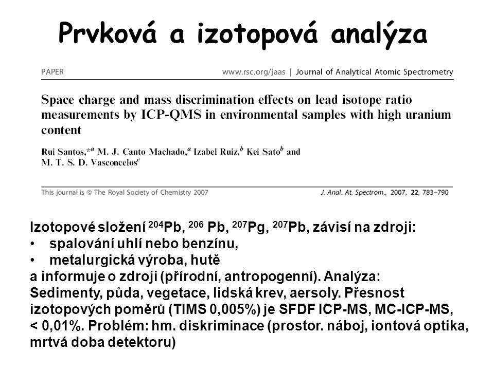Prvková a izotopová analýza Izotopové složení 204 Pb, 206 Pb, 207 Pg, 207 Pb, závisí na zdroji: spalování uhlí nebo benzínu, metalurgická výroba, hutě a informuje o zdroji (přírodní, antropogenní).