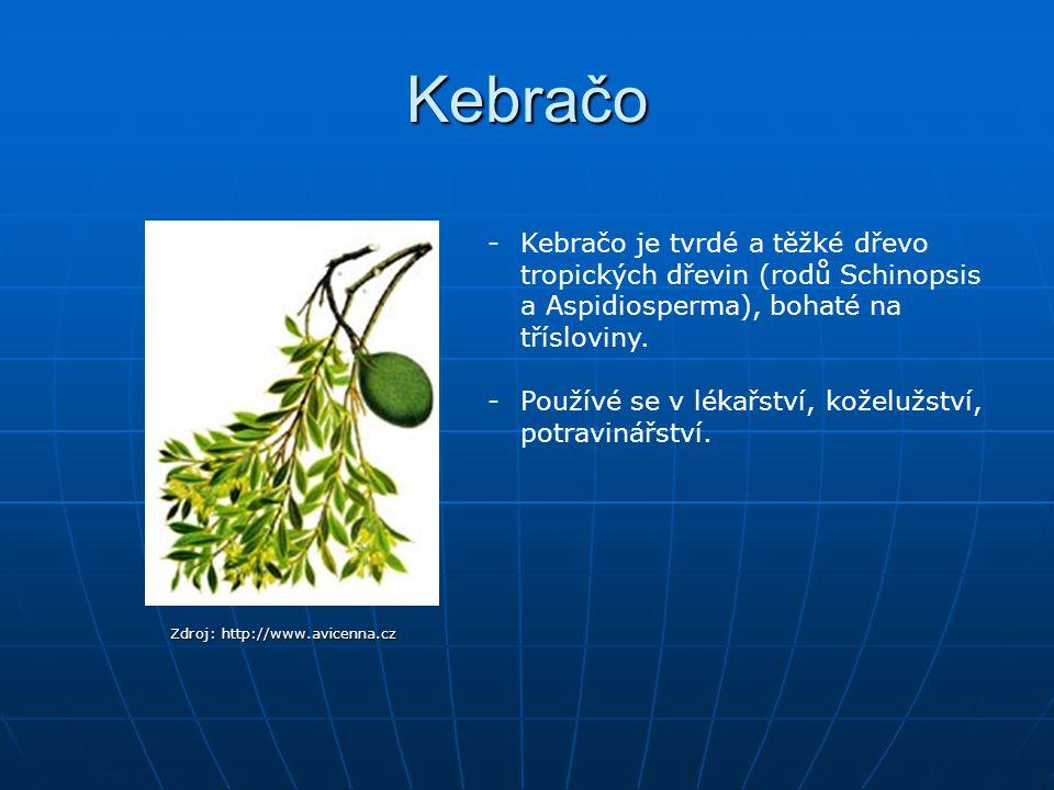 Kebračo Zdroj: http://www.avicenna.cz -Kebračo je tvrdé a těžké dřevo tropických dřevin (rodů Schinopsis a Aspidiosperma), bohaté na třísloviny. -Použ