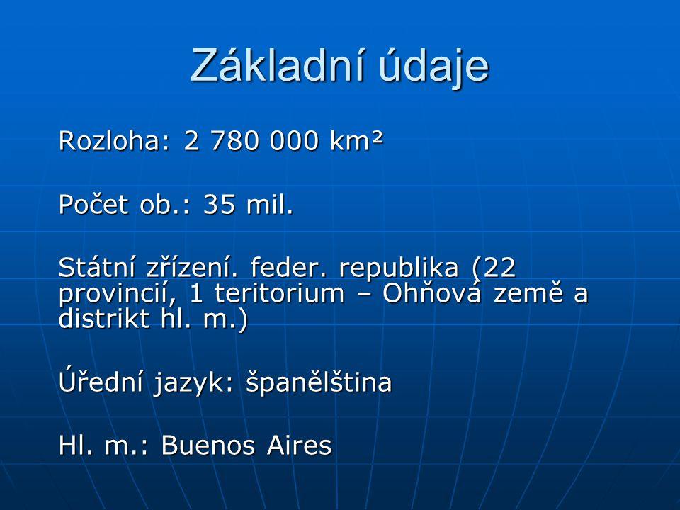 Základní údaje Rozloha: 2 780 000 km² Počet ob.: 35 mil. Státní zřízení. feder. republika (22 provincií, 1 teritorium – Ohňová země a distrikt hl. m.)