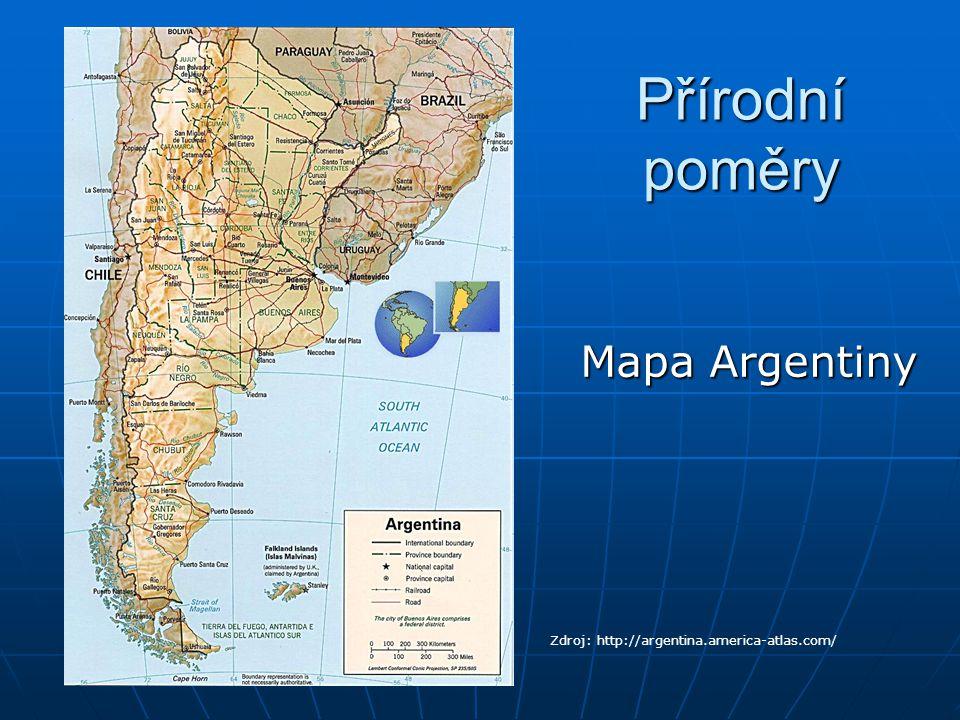 """Povrch V polovina Ohňové země (největší ostrov JA) V polovina Ohňové země (největší ostrov JA) SV – Laplatská nížina (mezi řekami Paraná a Uruguay """"Meziříčí) SV – Laplatská nížina (mezi řekami Paraná a Uruguay """"Meziříčí) Z – Andy (nejvyšší hora Ameriky – Aconcagua (6959 m)), nejvyšší vyhaslá sopka – Ojos del Salado (6880 m), častá zemětřesení Z – Andy (nejvyšší hora Ameriky – Aconcagua (6959 m)), nejvyšší vyhaslá sopka – Ojos del Salado (6880 m), častá zemětřesení J – Patagonská vysočina J – Patagonská vysočina"""