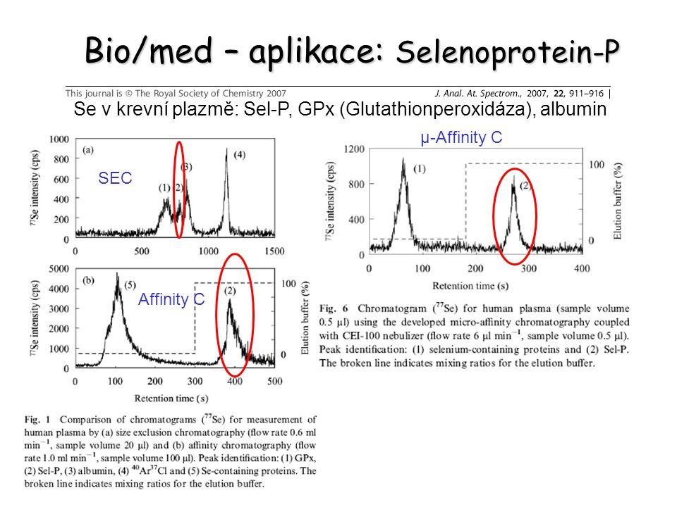 Bio/med – aplikace: Selenoprotein-P Se v krevní plazmě: Sel-P, GPx (Glutathionperoxidáza), albumin SEC Affinity C μ-Affinity C