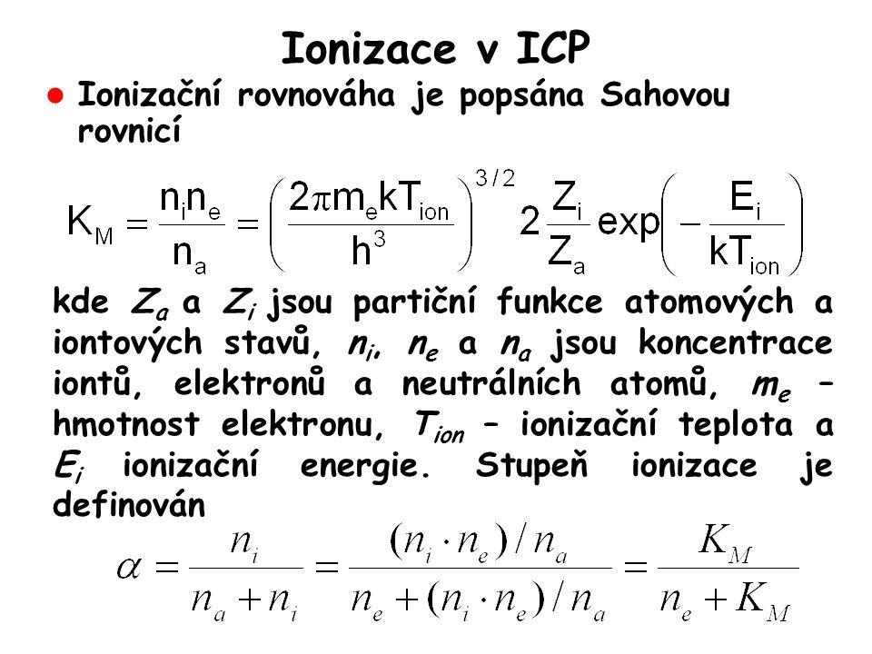 Ionizace v ICP l Ionizační rovnováha je popsána Sahovou rovnicí kde Z a a Z i jsou partiční funkce atomových a iontových stavů, n i, n e a n a jsou koncentrace iontů, elektronů a neutrálních atomů, m e – hmotnost elektronu, T ion – ionizační teplota a E i ionizační energie.