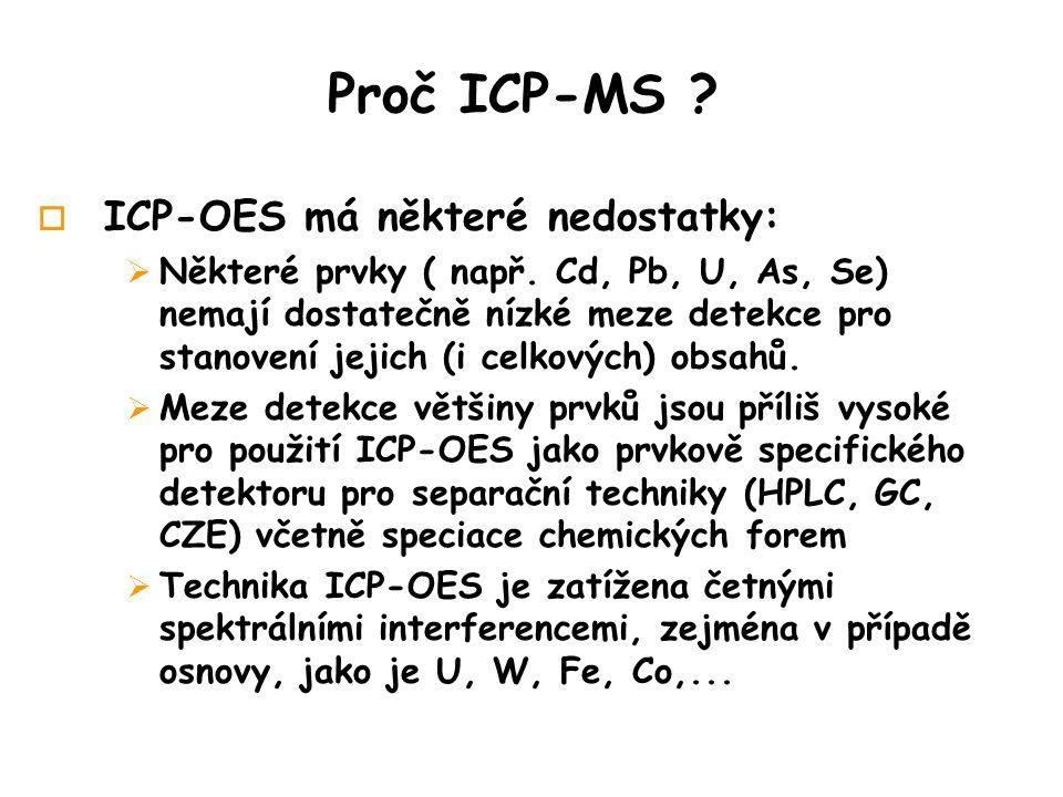 Proč ICP-MS .o ICP-OES má některé nedostatky:  Některé prvky ( např.