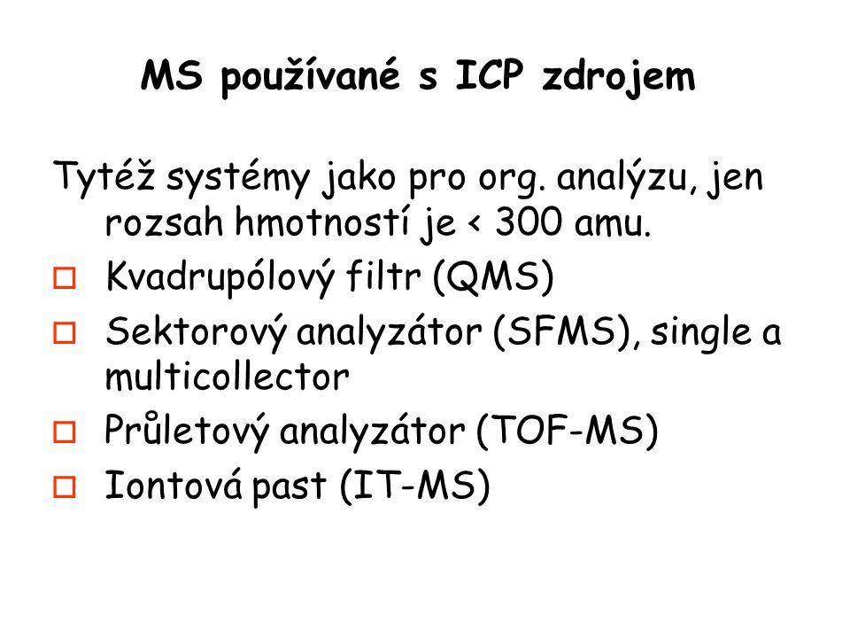 MS používané s ICP zdrojem Tytéž systémy jako pro org.