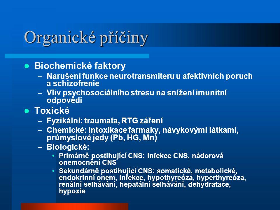Organické příčiny Biochemické faktory –Narušení funkce neurotransmiteru u afektivních poruch a schizofrenie –Vliv psychosociálního stresu na snížení i