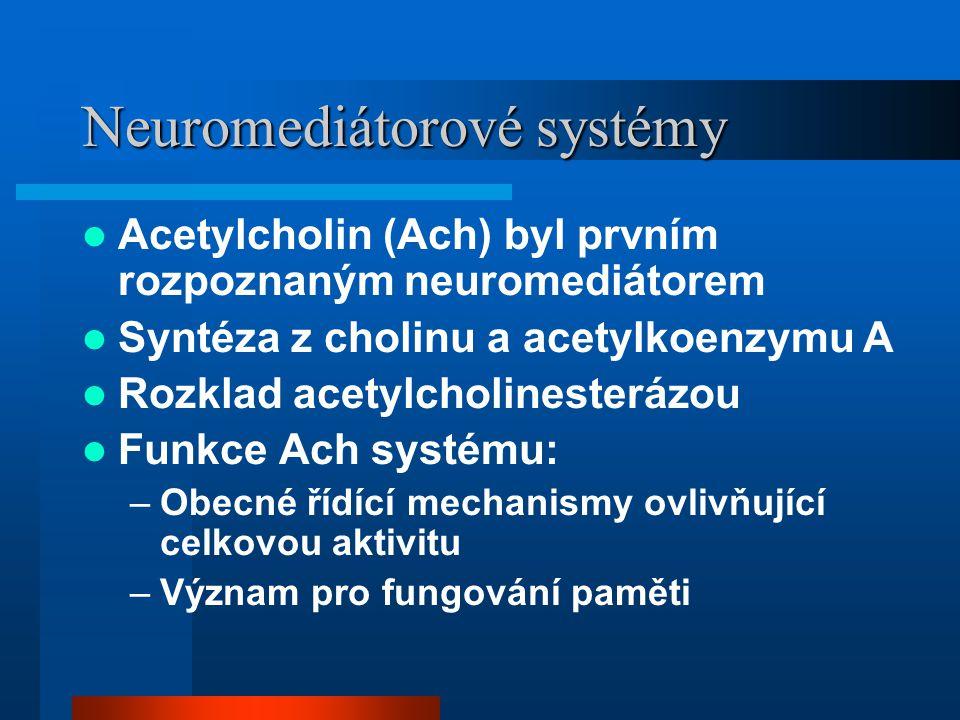 Neuromediátorové systémy Acetylcholin (Ach) byl prvním rozpoznaným neuromediátorem Syntéza z cholinu a acetylkoenzymu A Rozklad acetylcholinesterázou