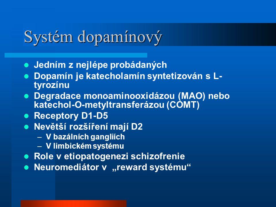 Systém dopamínový Jedním z nejlépe probádaných Dopamín je katecholamín syntetizován s L- tyrozínu Degradace monoaminooxidázou (MAO) nebo katechol-O-me