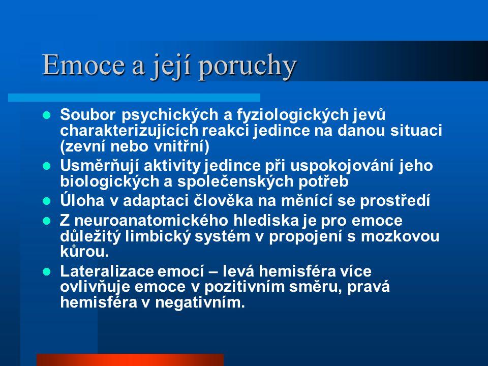 Emoce a její poruchy Soubor psychických a fyziologických jevů charakterizujících reakci jedince na danou situaci (zevní nebo vnitřní) Usměrňují aktivi
