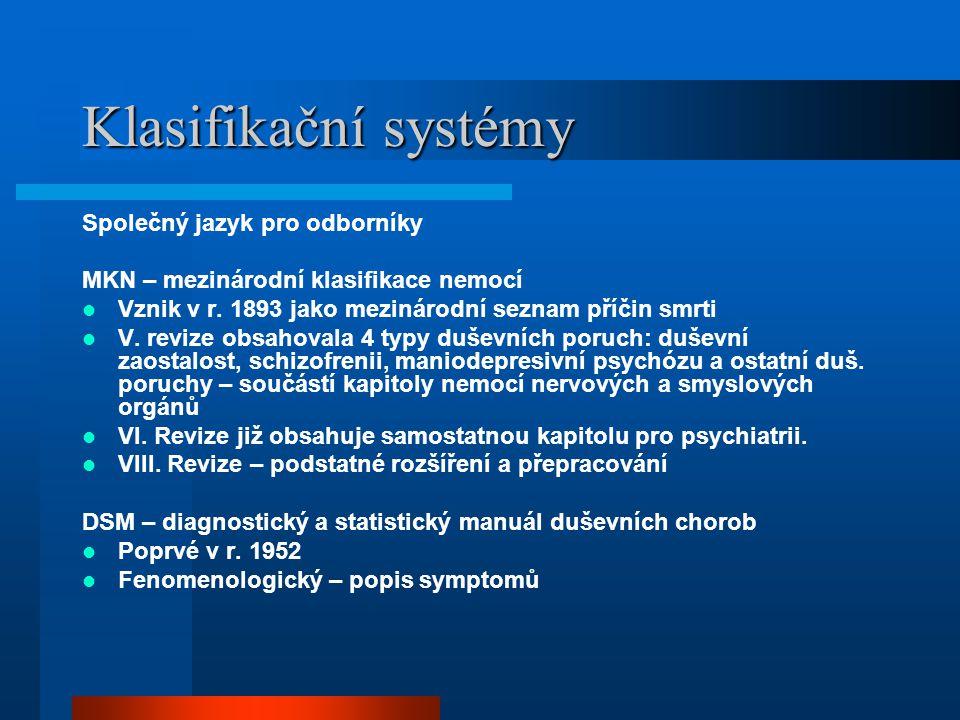 Klasifikační systémy v psychiatrii Symptom – příznak –Subjektivní manifestace patologického stavu Syndrom – soubor symptomů které se obvykle vyskytují společně Diagnóza –Porucha: podobná syndromu, ale je více pravděpodobné, že by mohla representovat nemoc –Nemoc: syndrom se známou příčinou, průběhem, nebo známým patofyziologickým mechanismem
