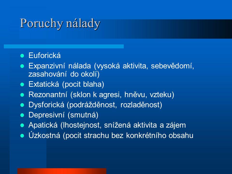 Poruchy nálady Euforická Expanzivní nálada (vysoká aktivita, sebevědomí, zasahování do okolí) Extatická (pocit blaha) Rezonantní (sklon k agresi, hněv