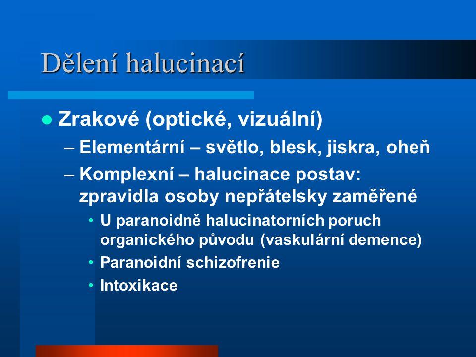 Dělení halucinací Zrakové (optické, vizuální) –Elementární – světlo, blesk, jiskra, oheň –Komplexní – halucinace postav: zpravidla osoby nepřátelsky z