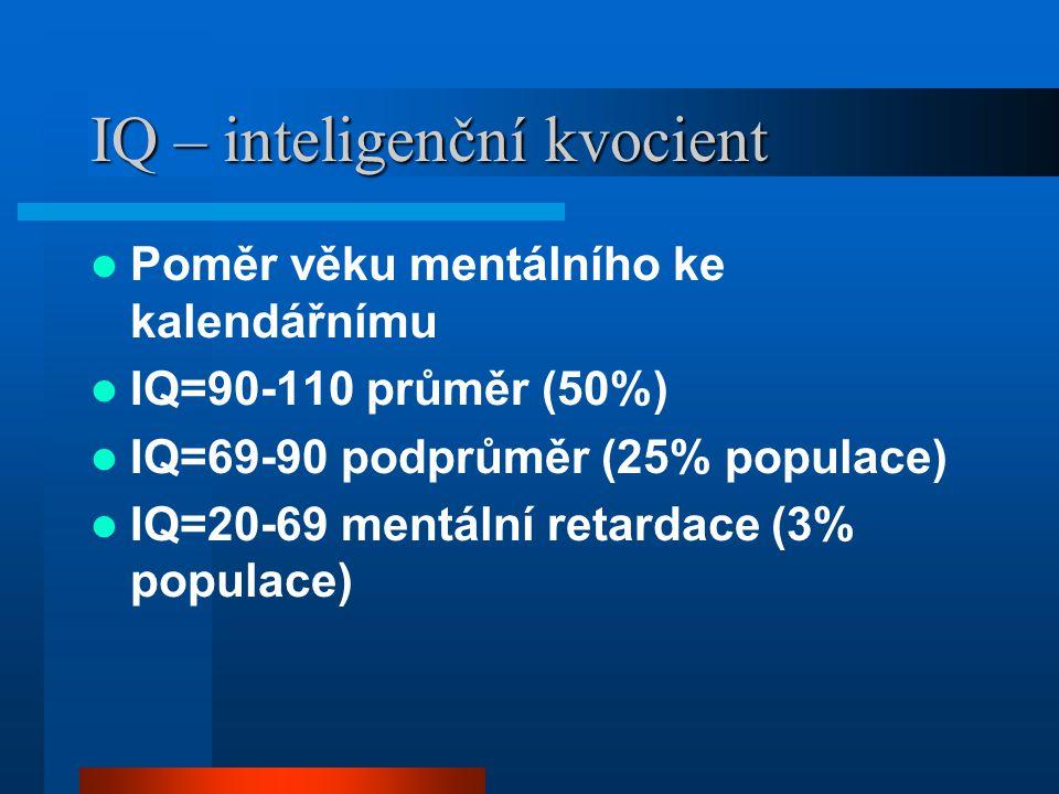 IQ – inteligenční kvocient Poměr věku mentálního ke kalendářnímu IQ=90-110 průměr (50%) IQ=69-90 podprůměr (25% populace) IQ=20-69 mentální retardace