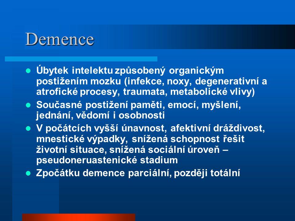 Demence Úbytek intelektu způsobený organickým postižením mozku (infekce, noxy, degenerativní a atrofické procesy, traumata, metabolické vlivy) Současn