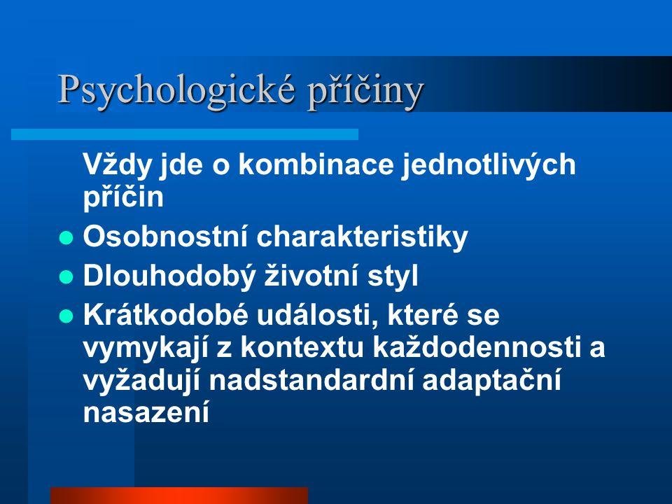 Sociální příčiny Dlouhdobé: makrosociální, mezosociální, mikrosociální (život rodiny) –Dlouhodobý chronický stresor (týrání, zneužívání, vztahová disharmonie) Krátkodobé: –životní události (ztráta blízké osoby, základních životních jistot, zaměstnání, násilí) Aby se sociální příčina stala patogenní, musí se transformovat na psychickou