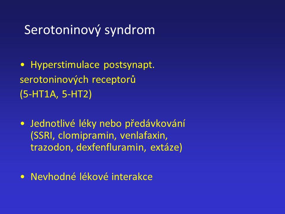 Serotoninový syndrom Hyperstimulace postsynapt. serotoninových receptorů (5-HT1A, 5-HT2) Jednotlivé léky nebo předávkování (SSRI, clomipramin, venlafa