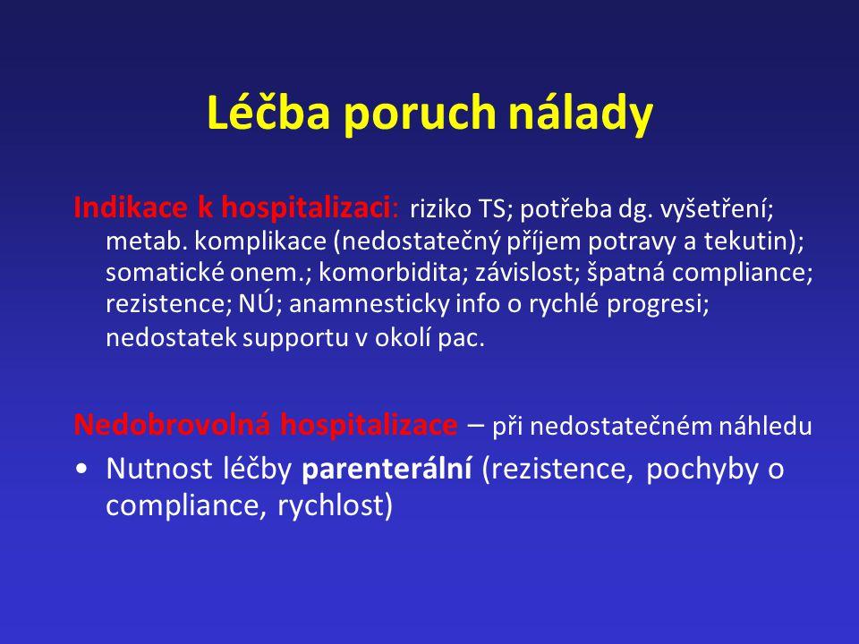 Léčba poruch nálady Indikace k hospitalizaci: riziko TS; potřeba dg. vyšetření; metab. komplikace (nedostatečný příjem potravy a tekutin); somatické o