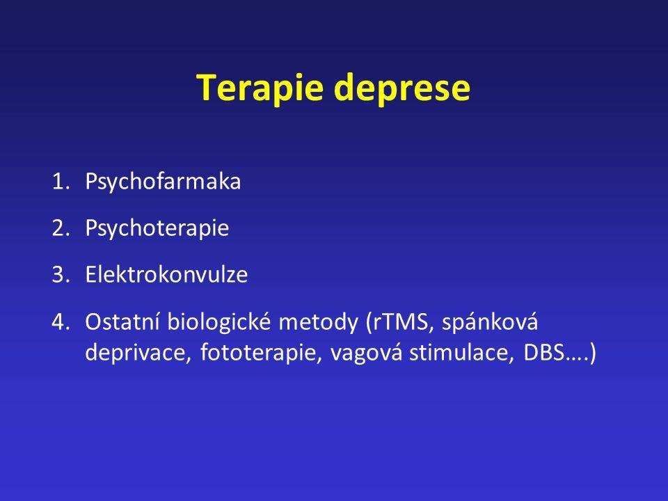 Terapie deprese 1.Psychofarmaka 2.Psychoterapie 3.Elektrokonvulze 4.Ostatní biologické metody (rTMS, spánková deprivace, fototerapie, vagová stimulace