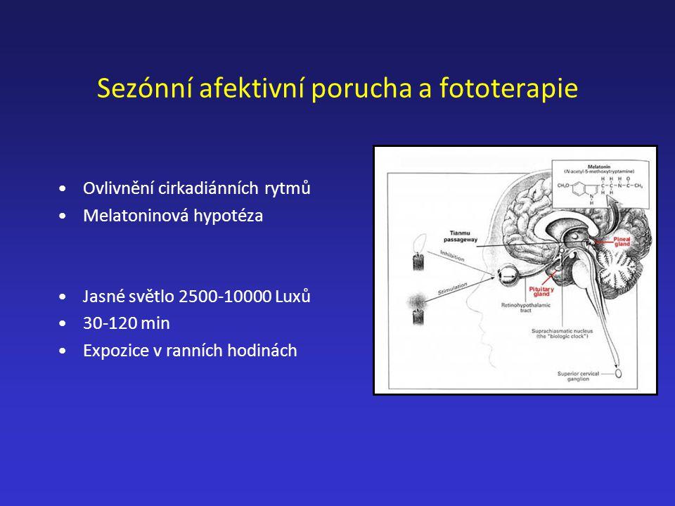 Sezónní afektivní porucha a fototerapie Ovlivnění cirkadiánních rytmů Melatoninová hypotéza Jasné světlo 2500-10000 Luxů 30-120 min Expozice v ranních