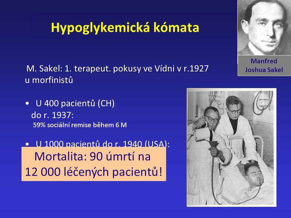 Hypoglykemická kómata M. Sakel: 1. terapeut. pokusy ve Vídni v r.1927 u morfinistů U 400 pacientů (CH) do r. 1937: 59% sociální remise během 6 M U 100
