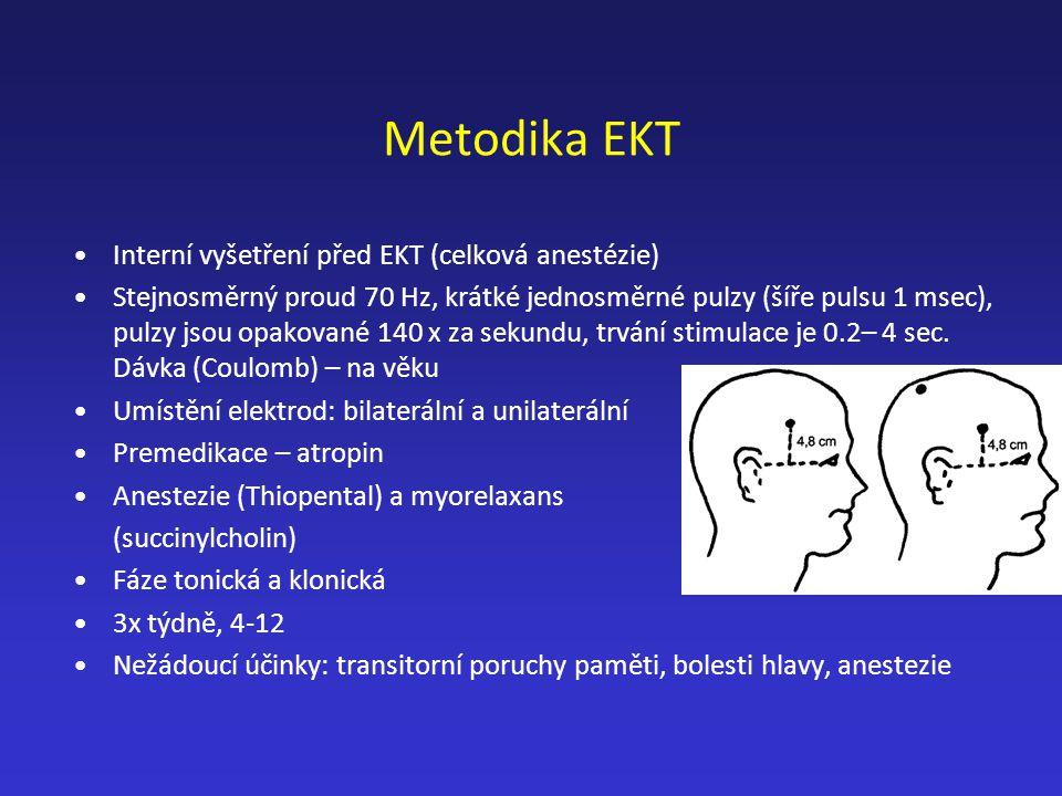 Metodika EKT Interní vyšetření před EKT (celková anestézie) Stejnosměrný proud 70 Hz, krátké jednosměrné pulzy (šíře pulsu 1 msec), pulzy jsou opakova