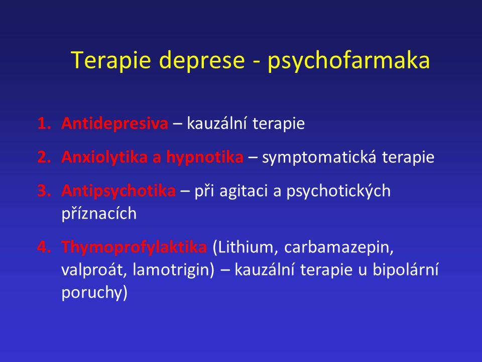 Terapie deprese - psychofarmaka 1.Antidepresiva – kauzální terapie 2.Anxiolytika a hypnotika – symptomatická terapie 3.Antipsychotika – při agitaci a