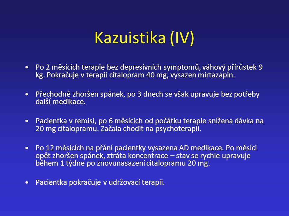 Kazuistika (IV) Po 2 měsících terapie bez depresivních symptomů, váhový přírůstek 9 kg. Pokračuje v terapii citalopram 40 mg, vysazen mirtazapin. Přec