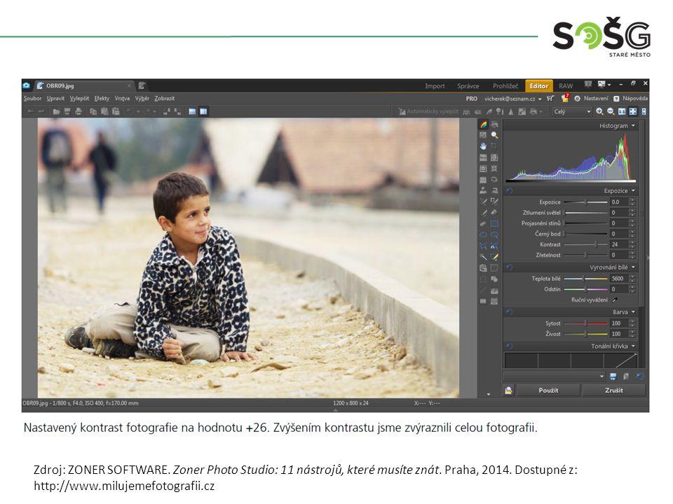 Zdroj: ZONER SOFTWARE. Zoner Photo Studio: 11 nástrojů, které musíte znát. Praha, 2014. Dostupné z: http://www.milujemefotografii.cz