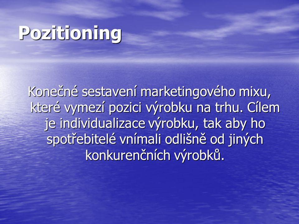 Pozitioning Konečné sestavení marketingového mixu, které vymezí pozici výrobku na trhu.