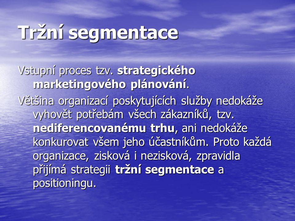 Tržní segmentace Vstupní proces tzv.strategického marketingového plánování.