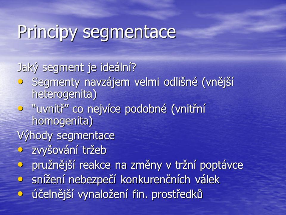 Principy segmentace Jaký segment je ideální.