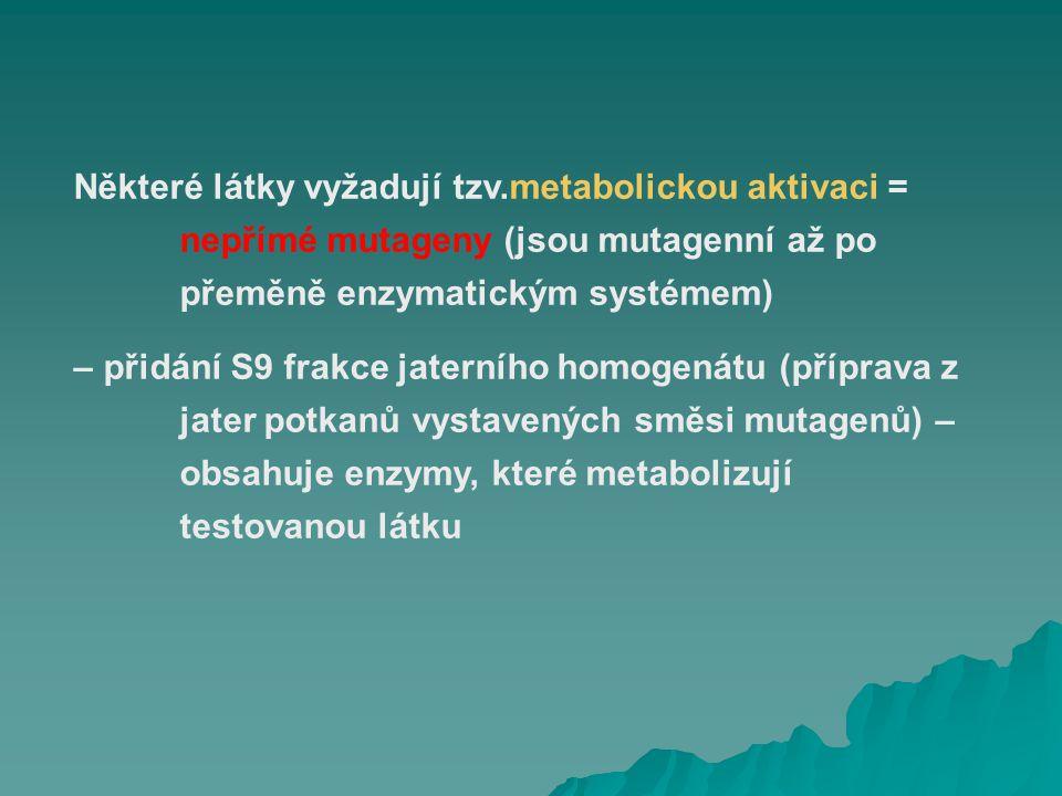 Některé látky vyžadují tzv.metabolickou aktivaci = nepřímé mutageny (jsou mutagenní až po přeměně enzymatickým systémem) – přidání S9 frakce jaterního